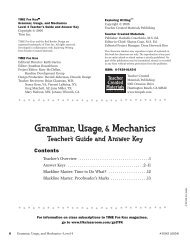 Grammar, Usage,& Mechanics - Teacher Created Materials