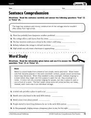 Sentence Comprehension Word Study - Teacher Created Materials