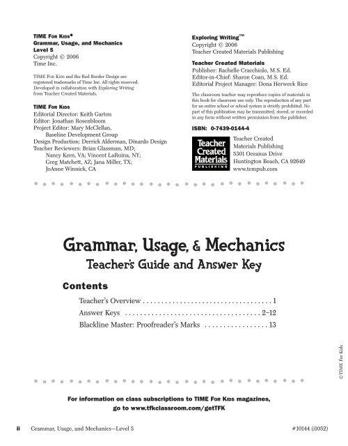 Grammar Usage Mechanics Teacher Created Materials