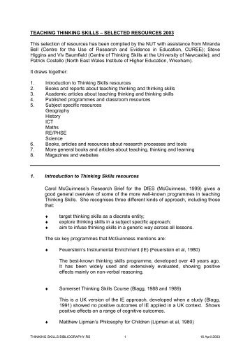 TEACHING THINKING SKILLS – SELECTED RESOURCES 2003 ...