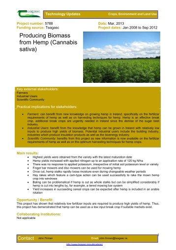 Producing Biomass from Hemp (Cannabis sativa) - Teagasc