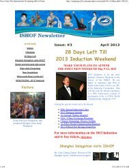 April 2013 ISHOF Newsletter - TeamUnify