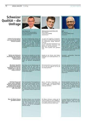 Schweizer Qualität – die Umfrage - Technica