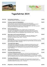 Tagesfahrten 2014 - Kurzurlaub Spezial