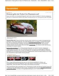 Erneut geht ein Tesla S in Flammen auf - Technik-Forum