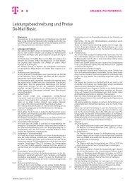 Leistungsbeschreibung und Preise De-Mail Basic.