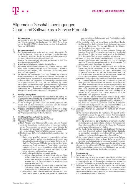 und Software as a Service-Produkte. - Telekom