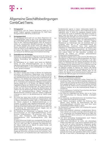 Allgemeine Geschäftsbedingungen CombiCard Teens. - Telekom