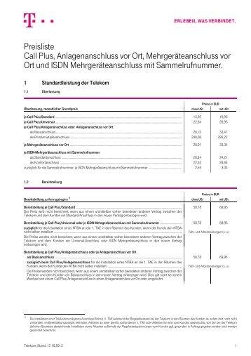 Preisliste Call Plus, Anlagenanschluss vor Ort ... - Telekom