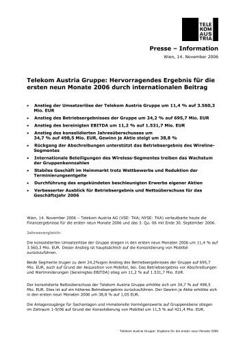 Ergebnis 1. neun Monate und 3. Quartal 2006 - Telekom Austria Group