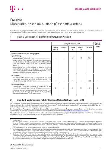Preisliste Mobilfunknutzung im Ausland (Geschäftskunden). - Telekom