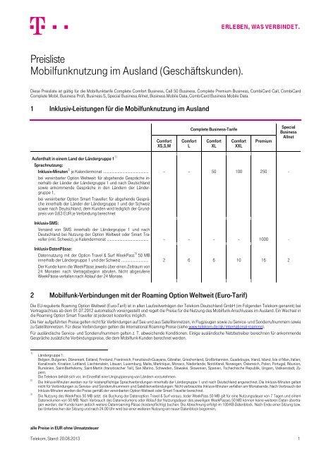 Preisliste Mobilfunknutzung Im Ausland Geschäftskunden