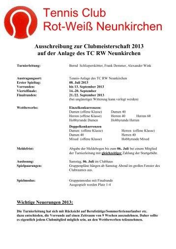 Ausschreibung - Tennis-Club Rot-Weiß Neunkirchen e.V.