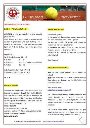 TGR‐Newsletter vom 16. Juli 2013 2. HE 65 - TC Heiligenhafen 3 : 3 ...