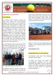 TGR‐Newsletter vom 30. April 2013 - Tennis in Schwentinental