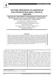 severe imported plasmodium falciparum malaria, france ... - medica.ro
