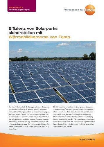 Effiziente Instandhaltung von Solarparks - TestoSites