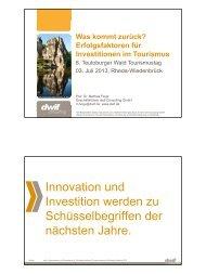 Erfolgsfaktoren für Investitionen im Tourismus ... - Teutoburger Wald
