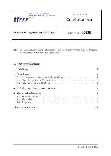 Grundpraktikum Inhaltsverzeichnis