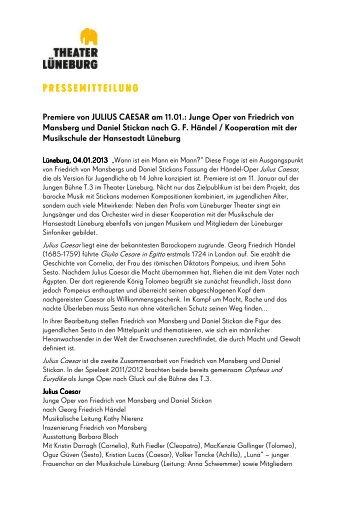 premiere der jungen oper julius caesar am theater lneburg - Julius Casar Lebenslauf