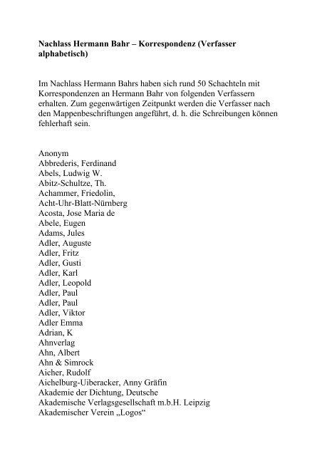Nachlass Hermann Bahr – Korrespondenz ... - Theatermuseum