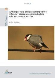 Vurdering av risiko for biologisk mangfold ved innførsel av ... - NINA