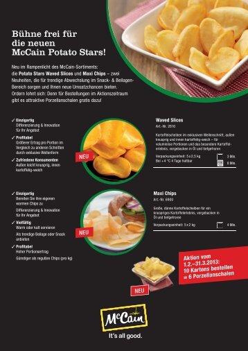 Bühne frei für die neuen McCain Potato Stars! - McCain Food Service