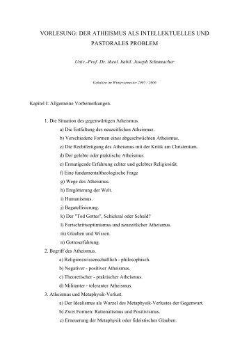 vorlesung: der atheismus als intellektuelles und pastorales problem