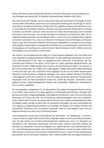 Rezension von Christoph Gellner - Theologie und Literatur
