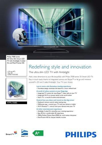 47PFL7008S/12 Philips 3D Ultra Slim Smart LED TV ... - Cosmodata