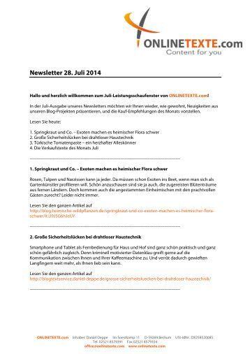 Newsletter 28. Juli 2014