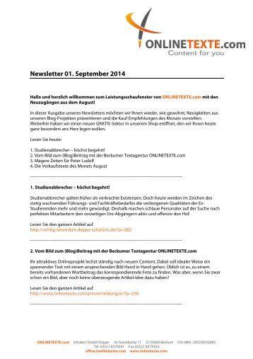 Newsletter 01. September 2014