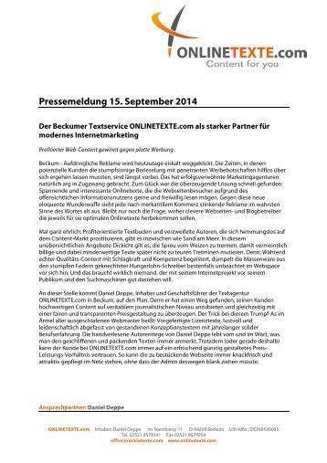 Pressemeldung 15. September 2014: Der Beckumer Textservice ONLINETEXTE.com als starker Partner für modernes Internetmarketing