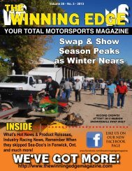 YOUR TOTAL MOTORSPORTS MAGAZINE tHe WINNING eDGe