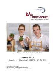 Rundbrief 4 Sommer 2013 - Gymnasium Thomaeum Kempen