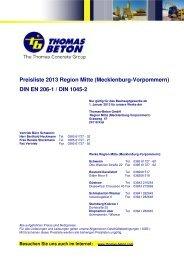 Preisliste 2013 Region Mitte (Mecklenburg-Vorpommern) DIN EN ...