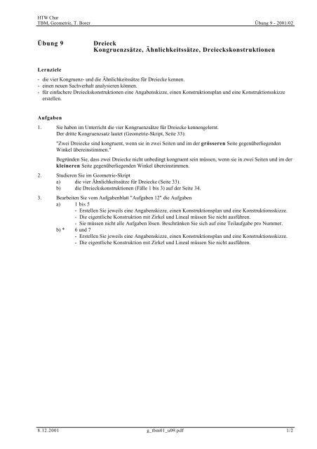 Übung 9 Dreieck Kongruenzsätze ... - Thomas Borer