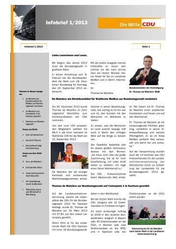 Infobrief 1/2013 - Dr. Thomas de Maizière