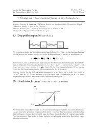 7. Übung zur Theoretischen Physik in zwei Semestern I 32 ...