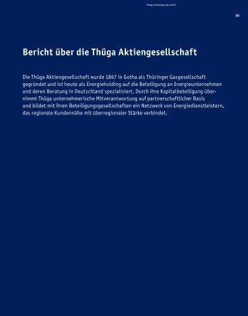 Bericht über die Thüga Aktiengesellschaft - Thüga AG