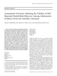 Assessment of Factors Affecting the Validity of Self-Reported Health ...
