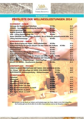 Wellness Preisliste 2014 - Sava Hotels & Resorts