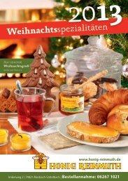 Weihnachts spezialitäten - Honig Reinmuth
