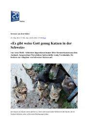 «Es gibt weiss Gott genug Katzen in der Schweiz» - Stiftung für das ...