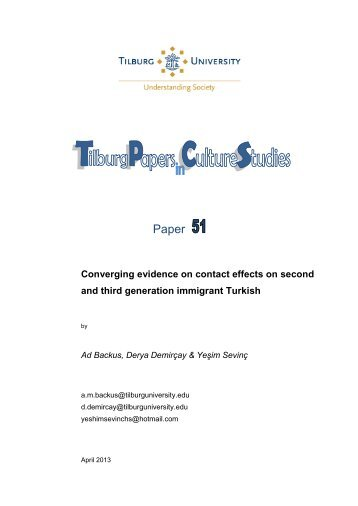 Paper 51: Converging evidence on contact ... - Tilburg University