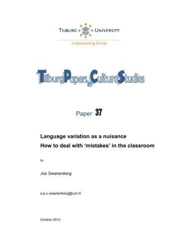 Paper 37: Language variation as a nuisance ... - Tilburg University