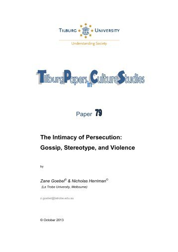 Paper The Intimacy of Persecution: Gossip ... - Tilburg University