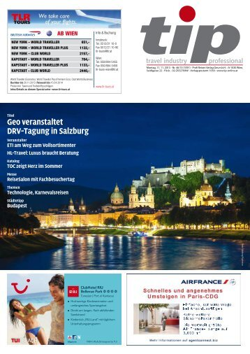 Geo veranstaltet DRV-Tagung in Salzburg - tip - Travel Industry ...