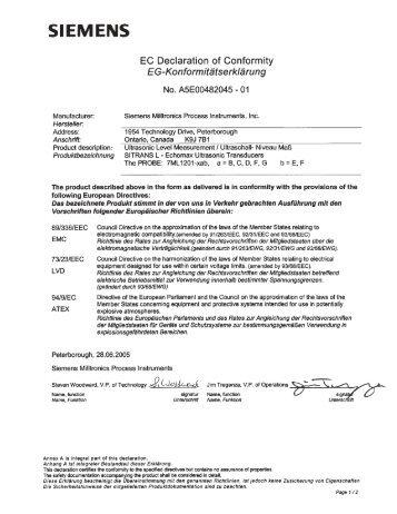 Anhang A zur EG-Konformitätserklärung