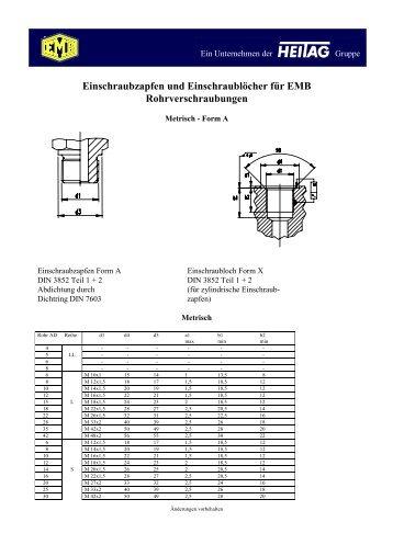 Einschraubzapfen und Einschraublöcher für EMB ...
